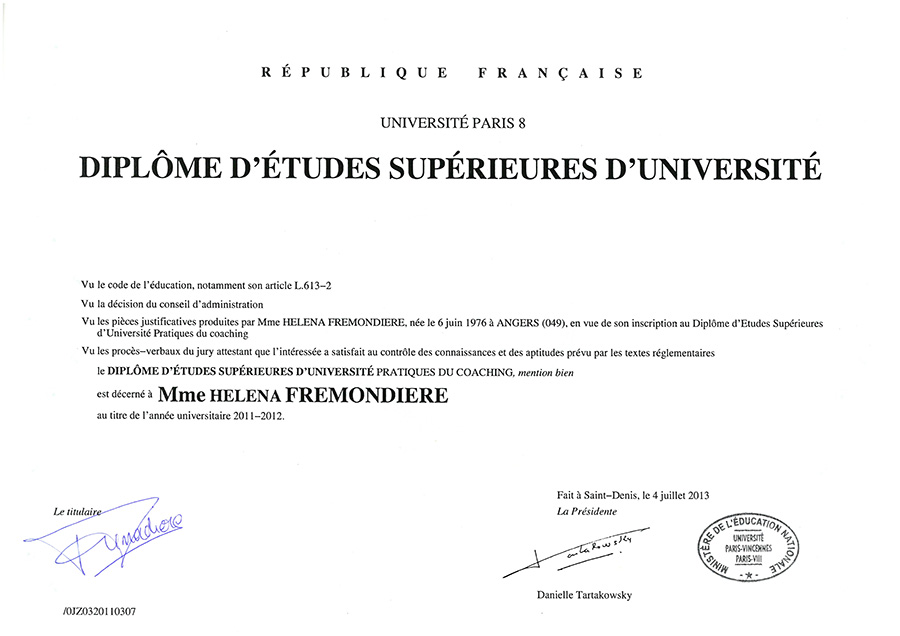 diplome universitaire paris 8